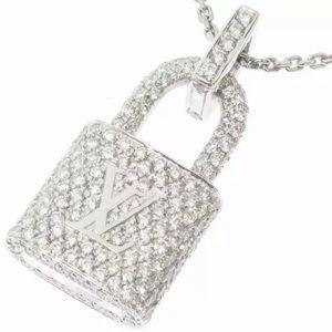 Louis Vuitton Diamond Lockit LV Logo Necklace
